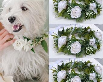 Dog wedding Collar Dog flower collar  White dog collar, Girl dog collar, Dog wedding crown dog wedding attire dog of honor  etsy