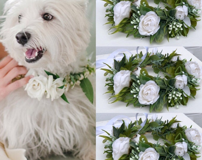 Dog wedding Collar Dog flower collar  White dog collar, Girl dog collar, Dog wedding crown dog wedding attire dog of honor  etsy