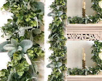 Lambs Ear Garland  Eucalyptus Garland, Farmhouse Decor, Greenery Garland, Table Runner Centerpiece, Wedding Garland,