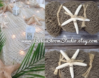 Natural Fish Net, Mermaid Decor, Beach wedding Decorations,  starfish centerpiece, Beach party decor,