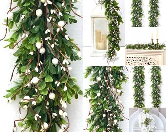 Spring Garland White berry and greenery garland Mantle Garland Greenery Garland Fireplace Garland farmhouse mantle Modern farmhouse decor