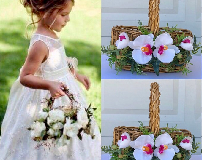 Orchid flower girl basket, Tropical flower girl basket, Flower girl Baskets , Petal basket, Wedding basket, Toss Petal Basket, Flower Gift