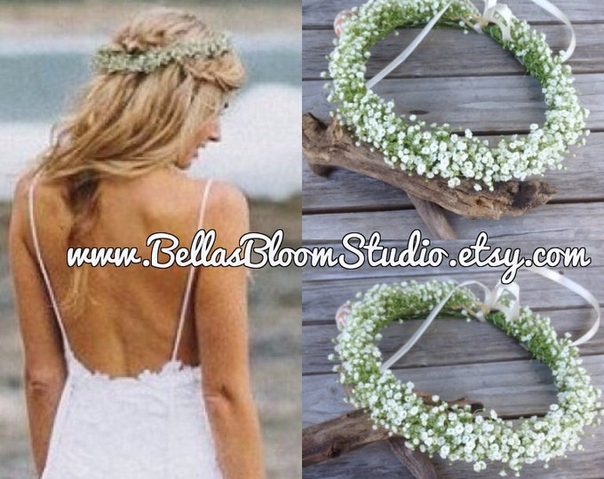 Fresh Baby's Breath Crown, Baby's Breath crown -  Fresh Flower Crown, Bridal Flower crown, Baby Breath headpiece ,  communion headpiece