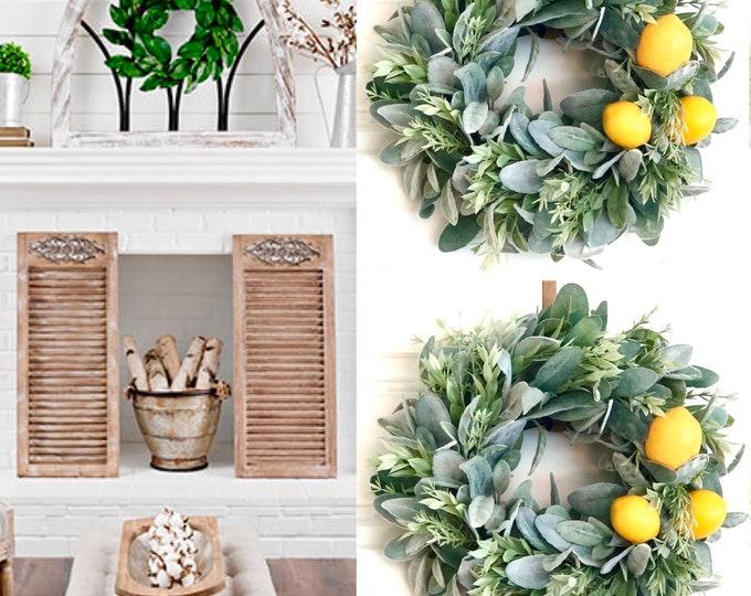 Farmhouse style Lemon Wreath , Sage Rosemary lemon Wreath, Sage Wreath - Farmhouse Decor - Summer Wreaths-Farmhouse Wreaths, Rosemary Wreath