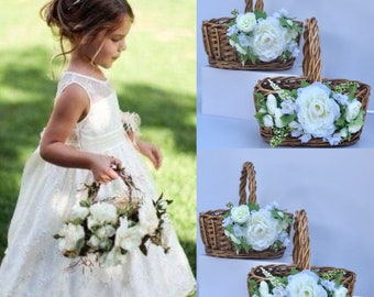 Flower girl Baskets Moss Basket Twig Basket Rustic Basket Small Flower Girl Basket Vintage Wedding Rustic wedding decor etsy
