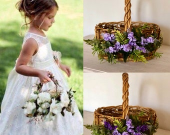 Purple flower girl basket, Lavender flower girl basket, Plum Wedding Decor, Flower Girl Basket, Bridal basket, Lavender wedding ,Lilac