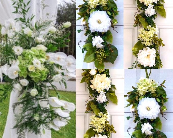 Peony Garland , Wedding Arch Swag, Wedding Backdrop, Wedding Arch Flowers, Silk Arch Flowers, Church Swag, Corner Wedding Swag
