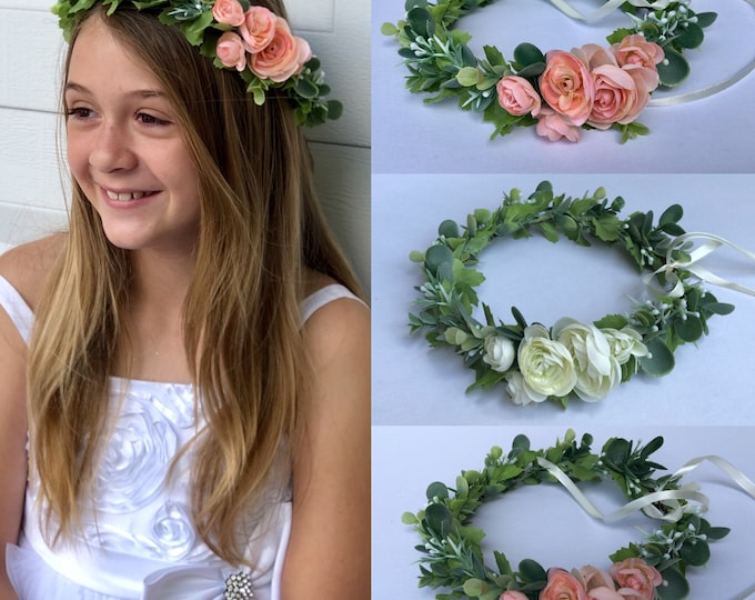 Pink flowers flower crown, Flower Girl Crown with pink flowers , Flower Girl Crown with white flowers
