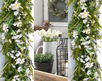 Greenery and white floral garland/farmhouse table runner/ mantle garland decor/greenery garland/Nursery decor/spring decor/farmhouse garland