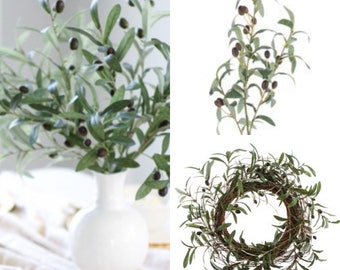 Olive branches, Artificial,Olive Branch Stems in Green - Filler, Crown Filler, Foliage, Olive Branch, Olives, Artificial Flowers