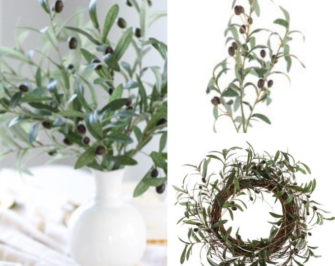 Olive branches, Artificial olive tree branches, Olive door wreath,
