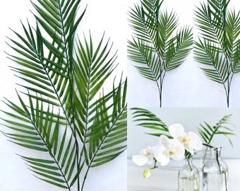 46 Tall Artificial Palm Leaf Stems, Artificial Areca Palm Leaf / Faux Palm Leaves / Greenery Stems / Tropical Branch /green Palm leaves