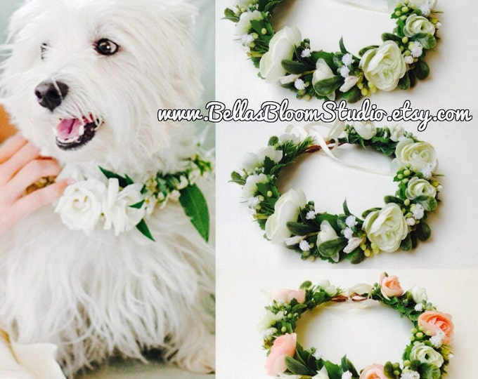 Dog wedding Collar, Dog of honor, dog wedding Leash, Dog flower collar, Wedding dog collar, Girl dog collar,Dog wedding attire etsy