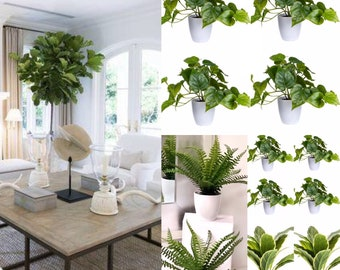 Fern in white pot Artificial Potted Plants,Fern plant, Aloe plant Potted Succulent Office plants Potted table plants farmhouse table decor