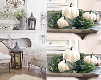 White Pumpkins set 3 with greenery,Dough Bowl Greenery / Dough Bowl Filler / Farmhouse Dough Bowl Greenery / Fall Home Decor Foam Pumpkins