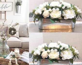 Farmhouse Floral Arrangement Silver Tray with Flowers coffee table flower arrangements dining room flower centerpiece silver vase
