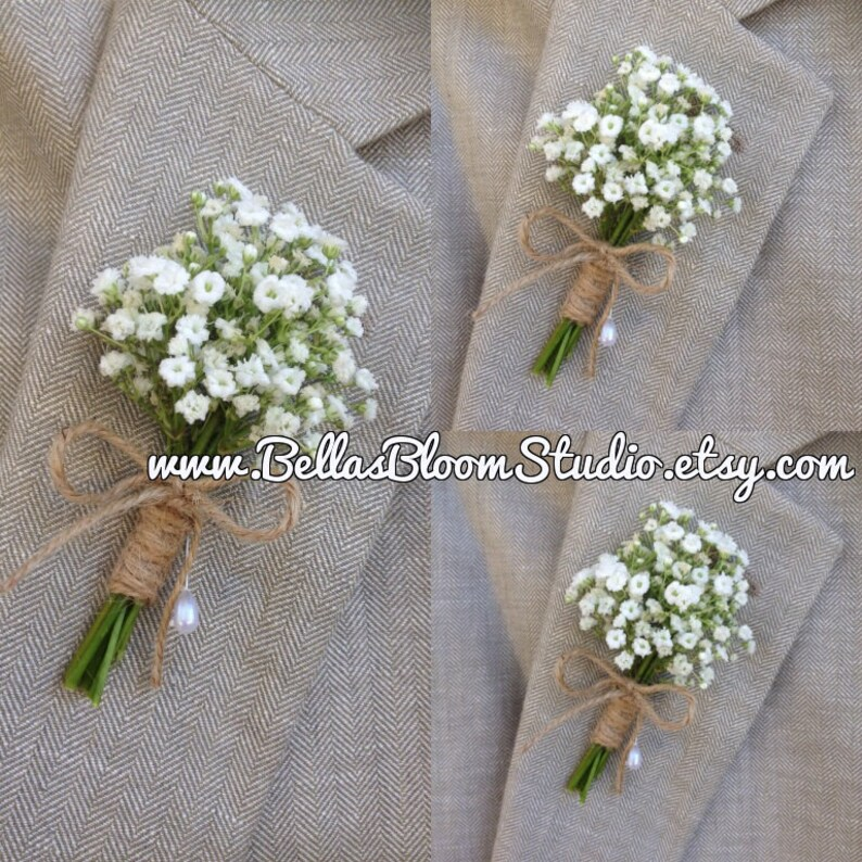 Rustic Boutonniere  Baby's Breath Boutonnieres mens image 0