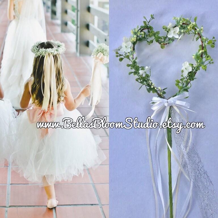 Wedding Wands Flower Girl Wand Heart Wand Rustic Flower Etsy