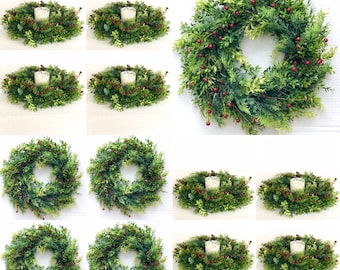 17 inch Candle rings Christmas Pine wreath mini Christmas wreaths Candleholders candle rings greenery Christmas table decorations