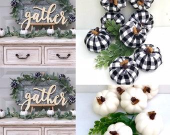 Craft Pumpkins set 8 ,Checkered pumpkins, Buffalo Checkered  Pumpkins,  Black and White Pumpkins, Plaid Pumpkins,Thanksgiving Decor,Plaid