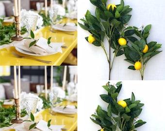 30 Tall Lemon Branches Lemon Farmhouse Decor Lemon Kitchen Decor Farmhouse Fruit  Decor Lemon leaves garland Lemon Garland Artificial lemon