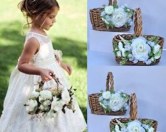Flower girl Baskets Moss Basket Twig Basket Rustic Basket Small Flower Girl Basket Vintage Wedding Rustic wedding decor etsy