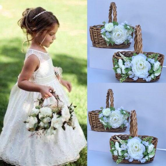 Rustic Wedding Flower Girl Basket  Twig Flower Girl Basket  Flower Girl Basket