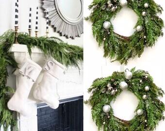 Christmas wreath with silver ornaments Silver Gold Wreath Ornament Wreath Holiday Wreath For Front Doo  Farmhouse Christmas decorations