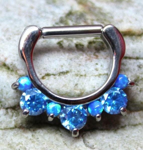 UK Seller Five White Fire Opal Hinged Septum Clicker Ring