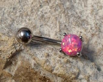 Pink Single Prong Set Fire Opal Belly Bar - UK Seller