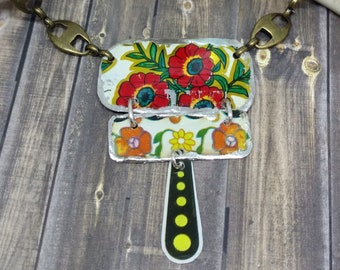 """Recycled vintage tin and brass Artisan made Necklace by Howubeadddoin 19"""""""