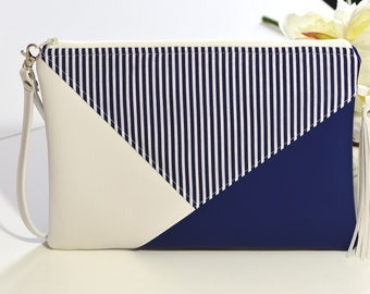 1734a79a34 Navy clutch bag, Envelope clutch, Navy blue clutch purse with tassel Vegan  leather purse Evening Bag navy stripe bag wristlet purse Boho bag
