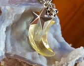 Yellow Glass Crescent Moon Urn Pendant Celestial Moon Star Urn Necklace Memorial Jewelry Cremation Jewellery Cremation Jewelry