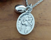 St Christopher Guardian Angel Teardrop Urn Pendant Urn Jewelry Cremation Jewelry Urn Necklace for Ashes Small Urn for Memorial