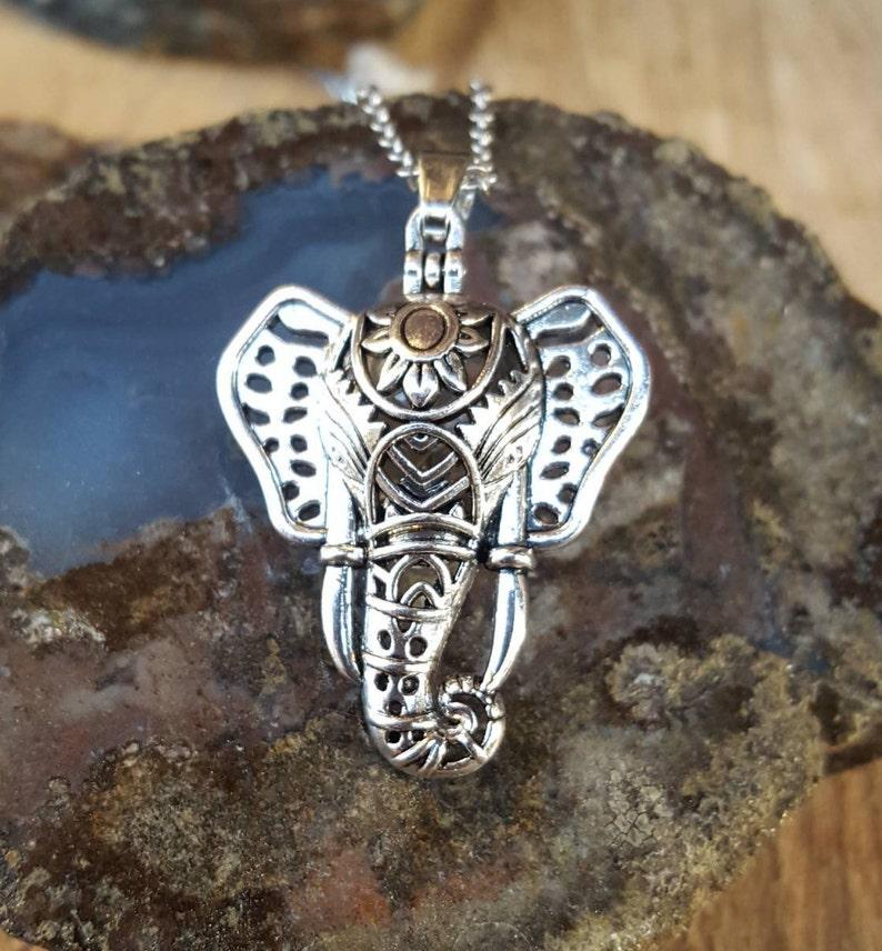 Urn Jewelry Elephant Pendant Ganesh Pendant Antiqued Elephant Keepsake Locket wGlass Orb Urn Locket Elephant Urn Necklace