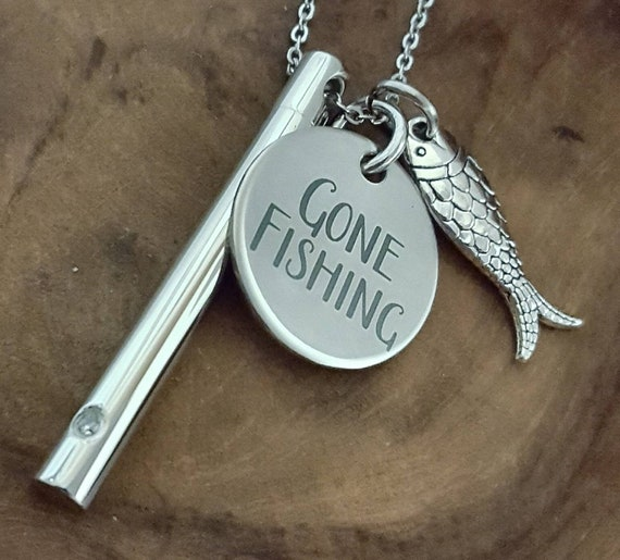 HAMANY Personalized Fish Hook Memorial Ash Urn Necklace Stainless Steel Cremation Jewelry