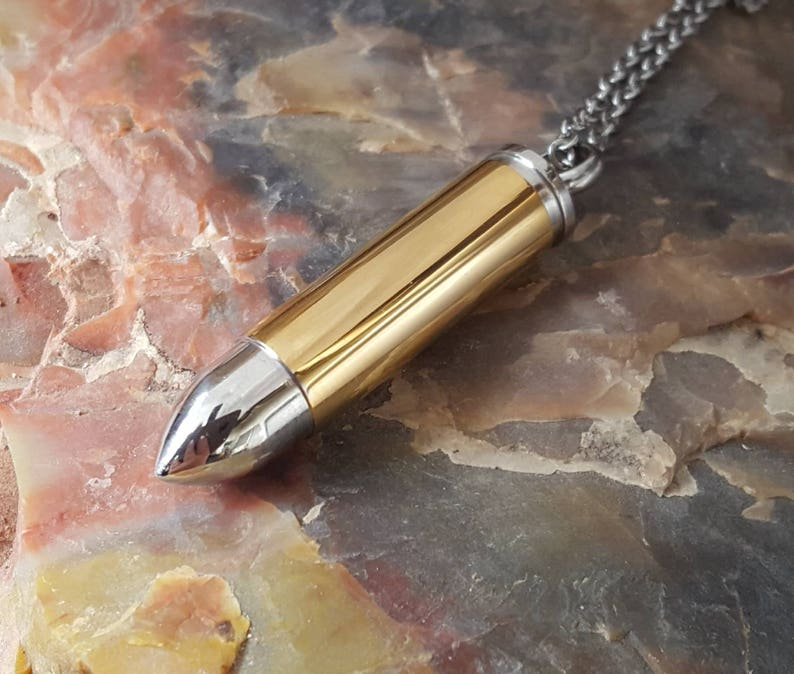 Memorial Jewelry Gold Bullet Urn Necklace Cremation Jewelry for Men Urn Necklace Urn Jewelry Quality Stainless Steel Bullet Urn