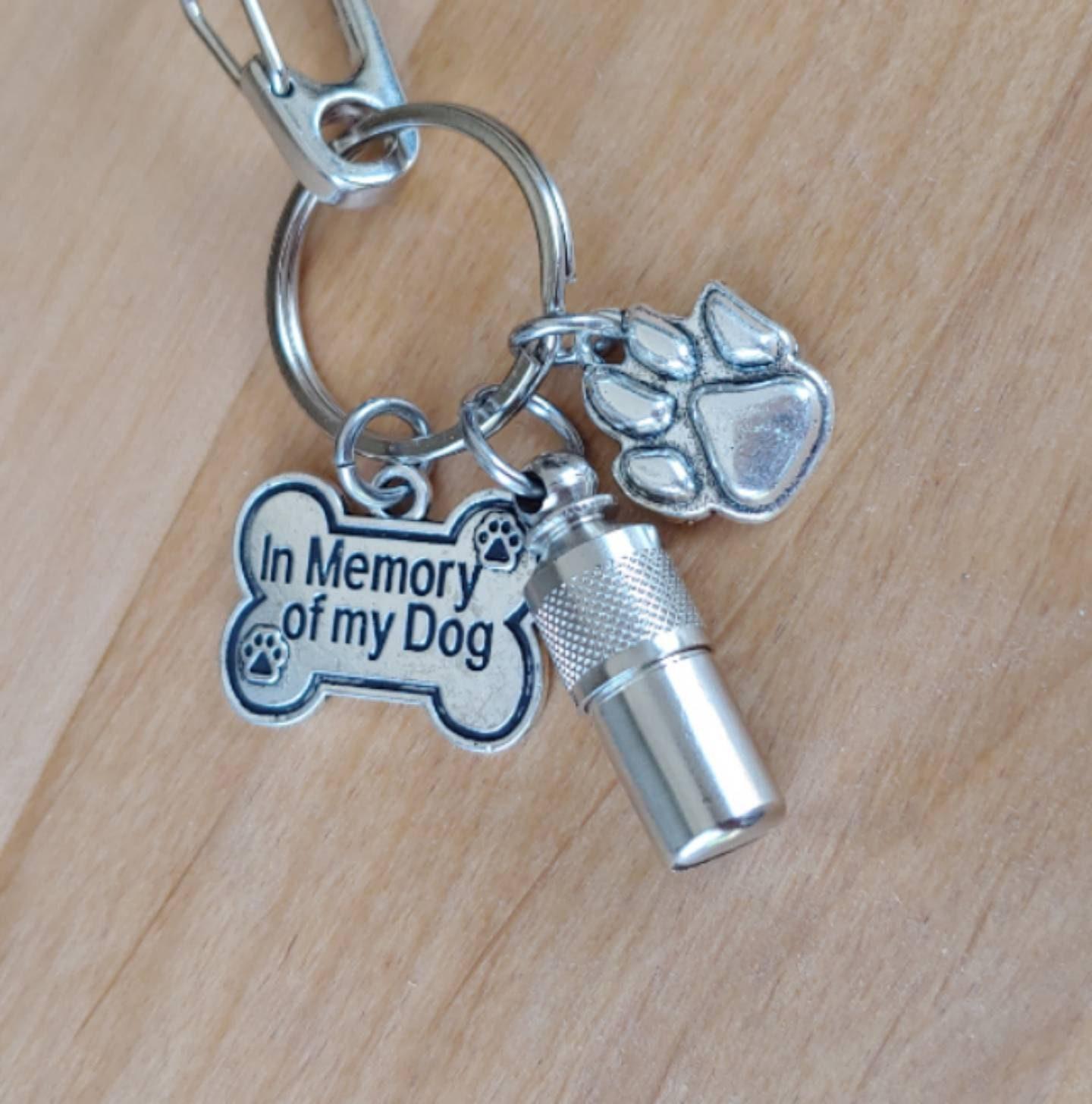 In Memory of My Dog Keepsake Urn KeyChain Pet Hair Locket Memory Keeper Dog Urn Cremation Jewelry Pet Memorial Pet Urn Jewelry