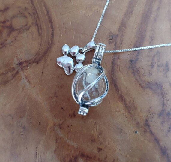 A-Blue-Always Paw Graceful Memorial Glass Pendant Necklace for Ashes Cremation Jewelry