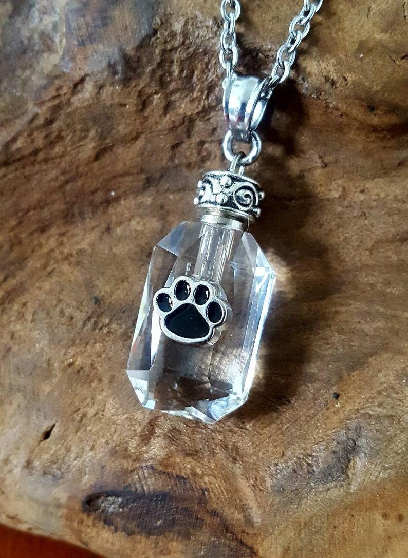 Pet Cremation Jewelry Paw Urn Pet Urn Necklace Crystal Paw Print Urn Pendant Pet Memorial Keepsake Pet Ash Necklace Pet Loss