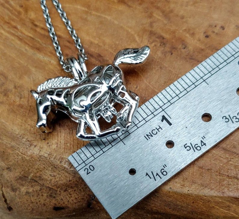 Horse Urn Necklace for Ashes Horse Pony Mustang Keepsake Pendant Cremation Jewelry Horse Memorial Locket Fillable Horse Locket