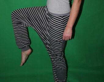 striped Bloomers  Harem Pants Sarouel pants black gray striped pants