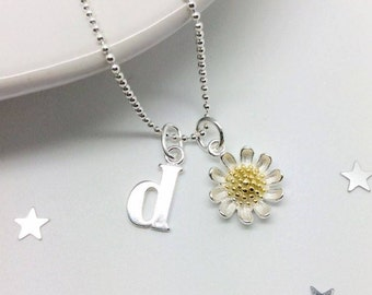 Daisy Necklace, Sterling Silver Daisy Necklace, Sterling Silver Necklace, Bridesmaid Necklace, Initial Necklace, Letter Necklace, Talisman