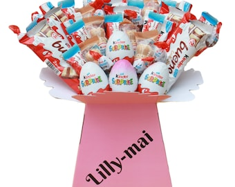 Chocolate Bouquet - Kinder, Personalised Name, Sweet Hamper, Chocolate Gifts, Chocolate Bars, Sweet Gift