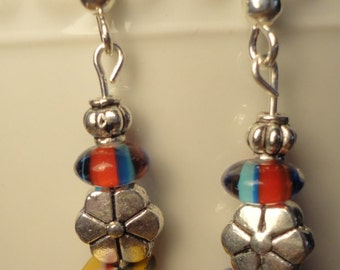 1970's glass beads with flowers