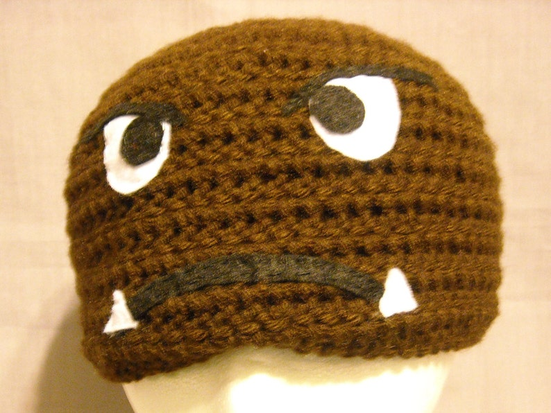054a5f980b5 Crocheted goomba hat for child to small adult