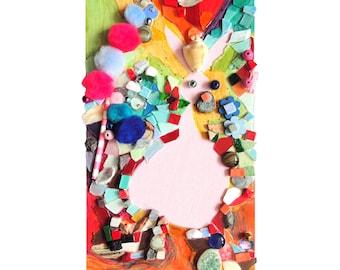 """Collage art : """"L'anniversaire de Norbert"""", artisanat techniques mixtes, mosaïque d'art, tableau peinture, décoration, pièce unique"""