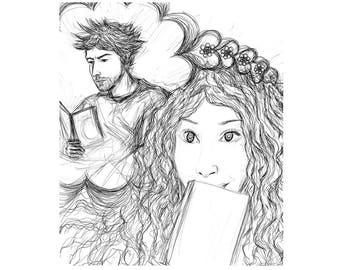 Art premier amour, encre, art noir blanc, image couple romance, tableau grand format, design décoration, pièce unique