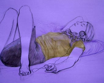 Encre art dessin de femme, peinture, tableau image de femme, art tableau grand format, design art décoration, cadeau pièce unique