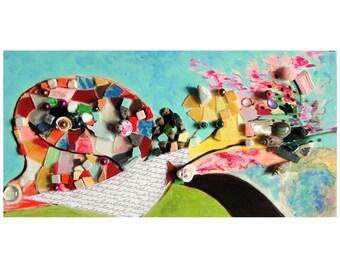"""Art mosaïque : """"Vas-y Alphonse !"""", artisanat techniques mixtes, collage d'art, tableau peinture, décoration pièce unique"""